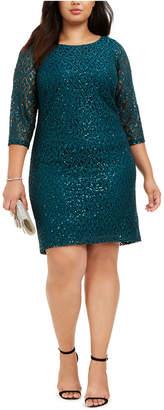 Jessica Howard Plus Size Disco Dot Lace Dress