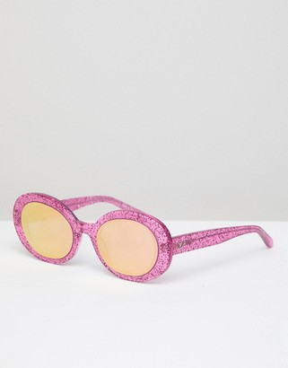 Vow London Selena oval sunglasses in pink glitter