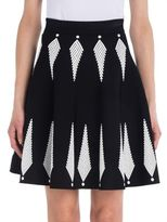 Alexander McQueen Two-Tone Knit A-Line Skirt