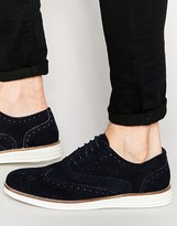 Dune Brogues In Navy Suede With Contrast Sole