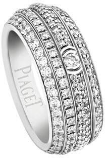 Piaget Possession Full Pavé Diamond Band Ring in 18K White Gold, Size 54