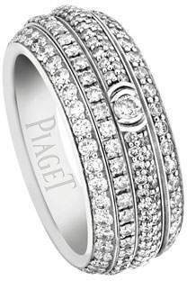 Piaget Possession Full Pave Diamond Band Ring in 18K White Gold, Size 54