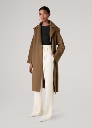 St. John Wool Blend Detachable Hooded Trench Coat