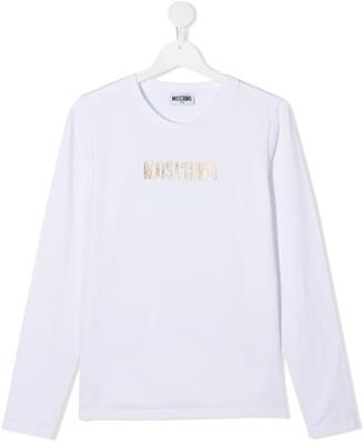 MOSCHINO BAMBINO TEEN glitter logo long-sleeve T-shirt