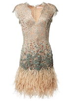 Matthew Williamson Beige Lacquer Lace Feather Dress