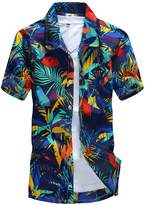 LerBen Men's Hawaiian Shirt Short Sleeve Summer Holiday Casual Beach Shirt