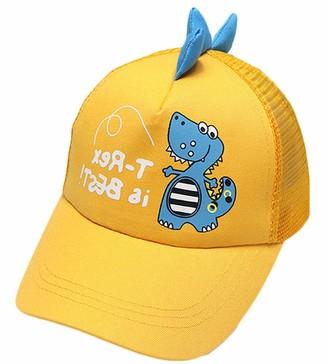 DELEY Toddler Sun Protection Beach Hat Infant Trucker Hat Dinosaur Baseball Cap Yellow