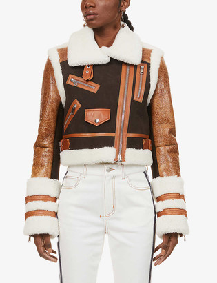 Alexander McQueen Contrast-panel leather and shearling jacket