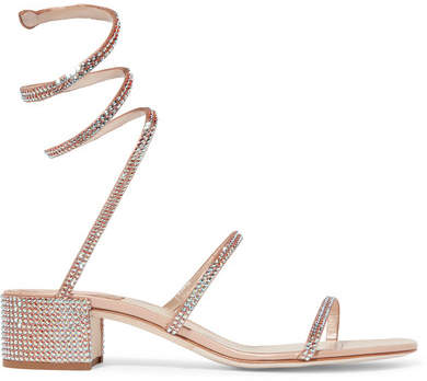 Rene Caovilla Cleo Crystal-embellished Metallic Satin And Leather Sandals - Neutral