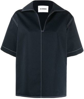 Jil Sander Spread-Collar Short-Sleeve Top