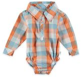 Rockin' Baby Out of Africa Oliver Checked Woven Long Sleeve Bodysuit in Orange/Blue