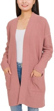 PINK ROSE Hippie Rose Juniors' Textured-Knit Open-Front Cardigan