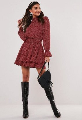 Missguided Burgundy Polka Dot High Neck Shirred Mini Dress