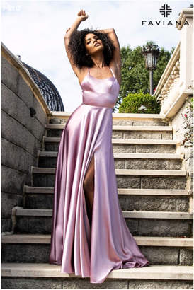 Faviana Halter Charmeuse Gown