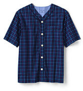 Classic Men's Short Sleeve Broadcloth Pajama Top-Dark Bay Blue Plaid