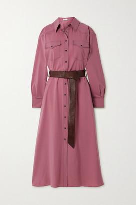 Brunello Cucinelli Belted Bead-embellished Wool Midi Shirt Dress - Pink