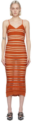 Louise Lyngh Bjerregaard Orange Knit Horizontal Stripe Mid-Length Dress
