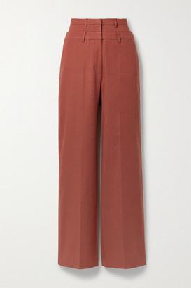 REJINA PYO Laila Linen-blend Twill Wide-leg Pants - Brick