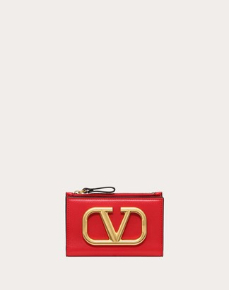 Valentino Vlogo Coin Purse And Cardholder Women Black Calfskin 100% OneSize