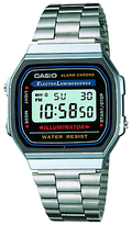 Casio A168wa-1yes Unisex Core Classic Digital Stainless Steel Bracelet Strap Watch, Silver/blue