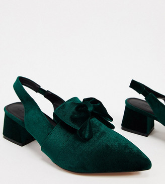 ASOS DESIGN Wide Fit Salsa slingback mid-heels with bow in forest green velvet