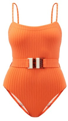 Solid & Striped The Gemma Belted Ribbed Swimsuit - Orange