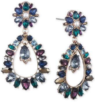 Marchesa Gold-Tone Crystal, Stone & Imitation Pearl Orbital Chandelier Earrings