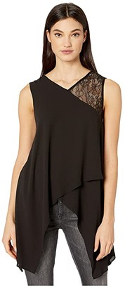 BCBGMAXAZRIA V-Neck Sleeveless Woven Top (Black) Women's Clothing