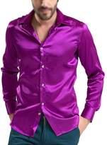 SODIAL(R) leisure Men's Clothing High-grade Emulation Silk Long Sleeve Shirts Men's Casual Shirt Shiny Satin 3XL