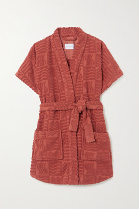 LUCY FOLK Horizon Belted Cotton-terry Robe - Red