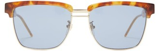 Gucci D Frame Acetate And Metal Sunglasses - Mens - Tortoiseshell