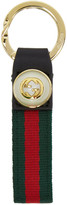 Gucci Red and Green Web Gg Pearl Keychain