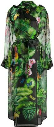 Dolce & Gabbana Botanical-Print Sheer Trench Coat