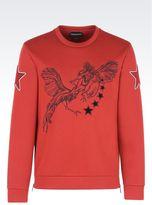 Emporio Armani Neoprene Sweatshirtwith Embroidery And Appliqués
