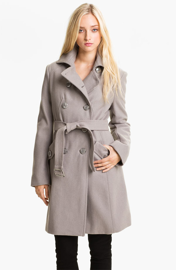 Kenneth Cole New York Wool Blend Trench Coat