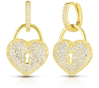 Sphera Milano 14K Gold Plated Sterling Silver CZ Heart Lock Huggie Earrings