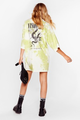 Nasty Gal Womens Future Love Tie Dye Tee Dress - Green