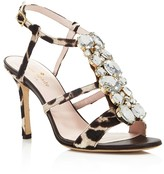 Kate Spade Imias Embellished Calf Hair T Strap High Heel Sandals