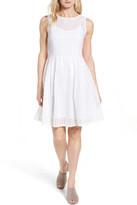 Halogen Eyelet Fit & Flare Dress (Regular & Petite)