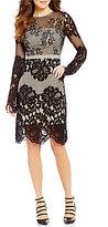 GUESS Valentina Illusion Lace Long-Sleeve Keyhole-Back Sheath Dress