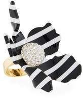 Lele Sadoughi Striped Crystal Lily Statement Ring