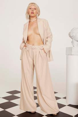 Nasty Gal Womens Business As Usual Wide-Leg Belted Plus Trousers - Cream - 22, Cream