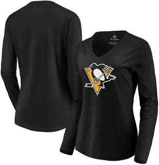 Women's Fanatics Branded Black Pittsburgh Penguins Primary Logo Long Sleeve V-Neck T-Shirt