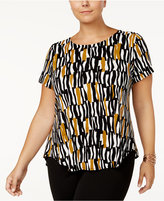 Alfani Plus Size Printed Short-Sleeve Top, Created for Macy's