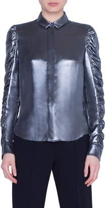 Akris Punto Metallic Crepe Ruffle-Sleeve Blouse