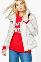 Boohoo Gabriella Collared Quilted Coat