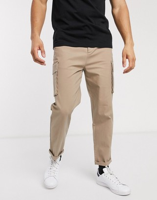 ASOS DESIGN relaxed cargo trousers in stone