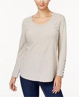 Style&Co. Style & Co Textured Button-Detail Top, Created for Macy's