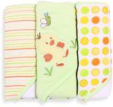 SpaSilk Baby Stripe/Duck Applique/Dots 3-Count Terry Hooded Towel in Green