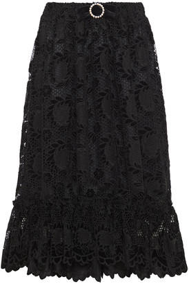 Shrimps Pearl Bow-embellished Guipure Lace Midi Skirt